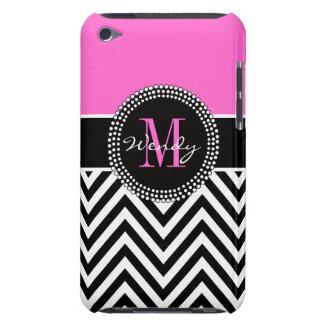 Pink and Black Chevron Monogram Elegant iPod Touch Case