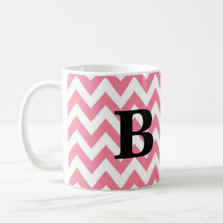 Pink and Black Chevron Monogram Mug