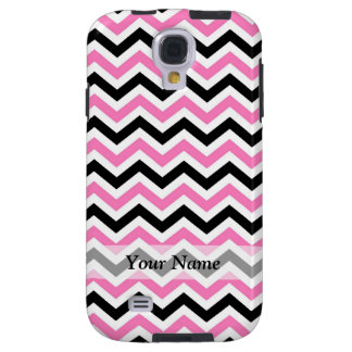 Pink and black chevron pattern galaxy s4 case