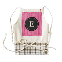 Pink and Black Chevron Pattern Zazzle HEART Apron