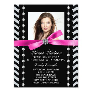 Pink and Black Chevron Sweet 16 Birthday Party Card