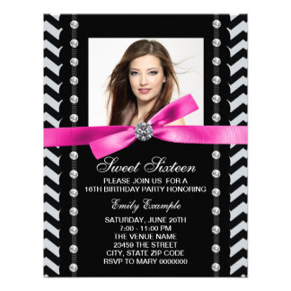 Pink and Black Chevron Sweet 16 Birthday Party Personalized Announcements