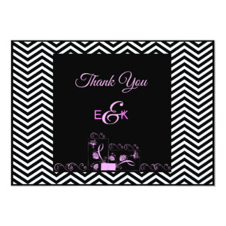 Pink and Black Chevron Thank You Card