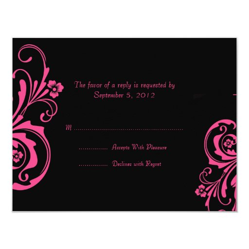 Pink and Black Chic Wedding RSVP 4.25x5.5 Paper Invitation Card