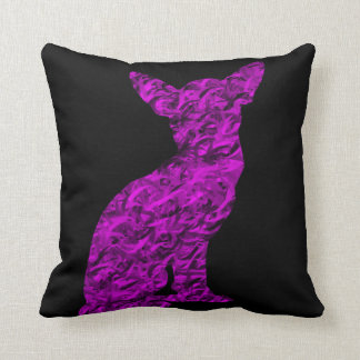 Pink and Black Chihuahua Silhouette Throw Pillow