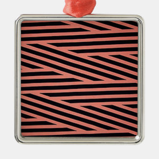 Pink and Black Chop Stripes Metal Ornament