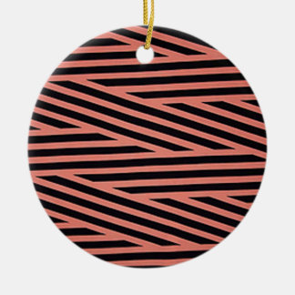 Pink and Black Chop Stripes Christmas Ornaments