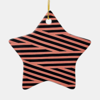 Pink and Black Chop Stripes Ornaments