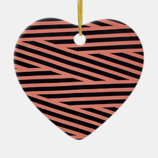 Pink and Black Chop Stripes Ornament