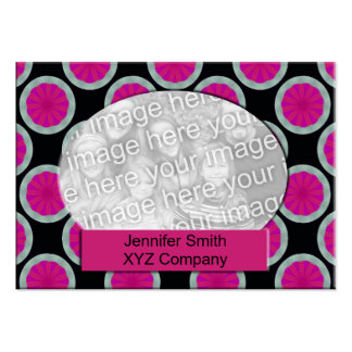 Pink and black circle photo frame business card templates