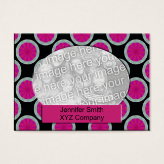 Pink and black circle photo frame business card