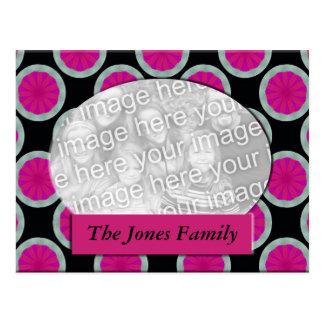 pink and black circle photo frame post card