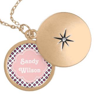 pink and black circle polka dots monogram locket necklace