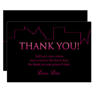 Pink and Black, City | Thank You Cards