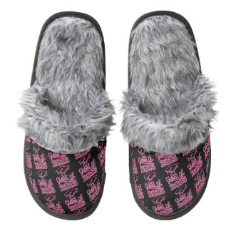 Pink and Black Class of 2015 Graduation Cap Pair Of Fuzzy Slippers