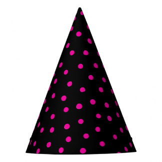 Pink And Black Confetti Dots Pattern Party Hat