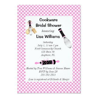 Pink and Black Cookware Bridal Shower Invitation