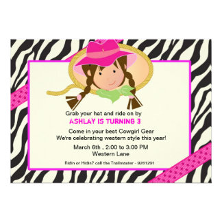 Pink and black cowgirl brithday party invitation