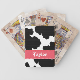 Pink and Black Cowhide Bicycle® Playing Cards