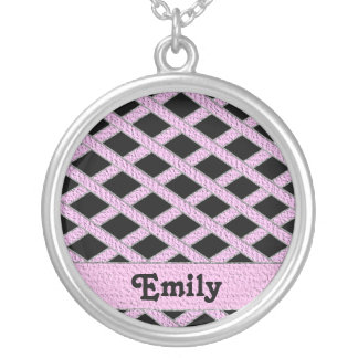 Pink and black crisscross monogram necklace