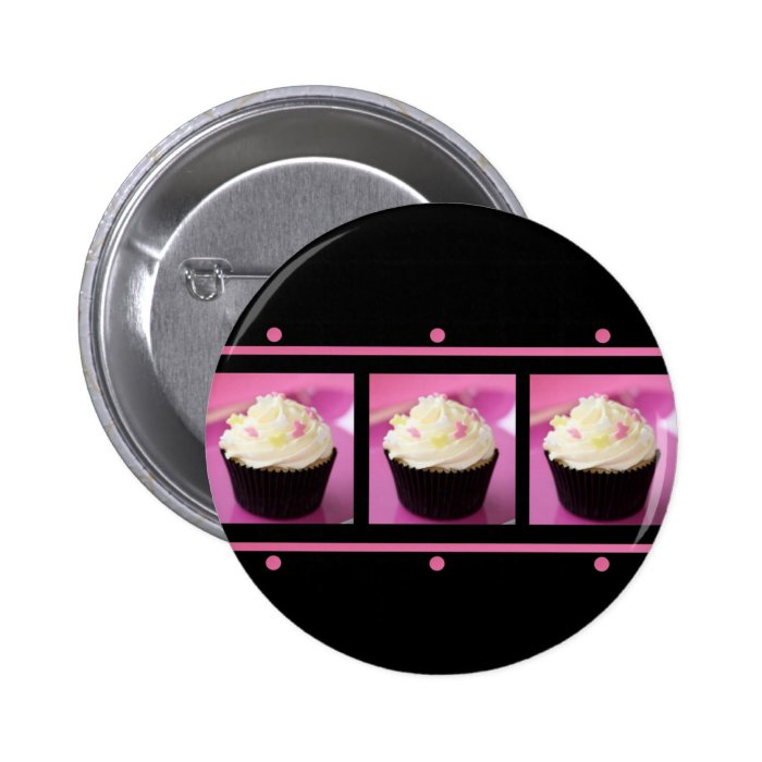 Pink and Black Cupcake Business Products Button