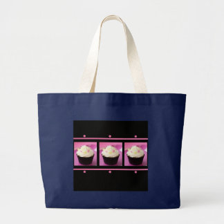 Pink and Black Cupcake Business Products Large Tote Bag