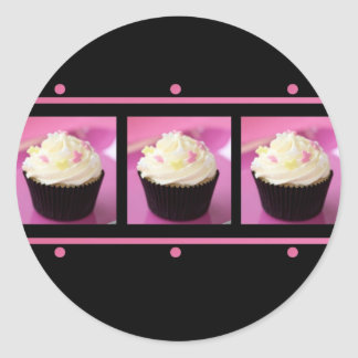 Pink and Black Cupcake Business Products Round Stickers