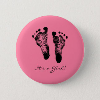 Pink and Black Cute Baby Footprints Its a Girl Button