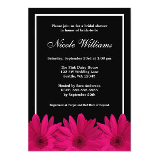 Pink and Black Daisy Bridal Shower Card