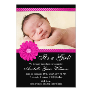 Pink and Black Daisy Girl Photo Birth Announcement