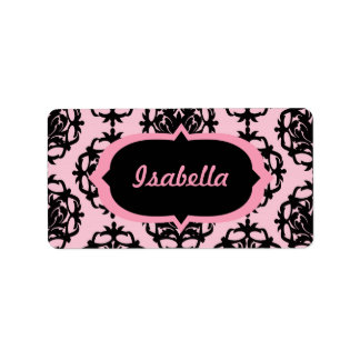 Pink and Black Damask Address Label