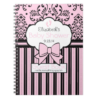 Pink and Black Damask and Stripes Guest Book