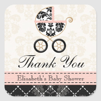 Pink and Black Damask Baby Carriage Thank You Square Sticker