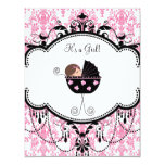 Pink and Black Damask Baby Girl Shower Invitations