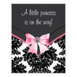 Pink and Black Damask Baby Shower Custom Announcement Cards