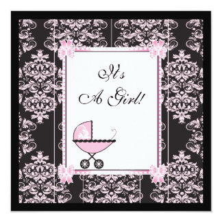 Pink and Black Damask Baby Shower 5.25x5.25 Square Paper Invitation Card
