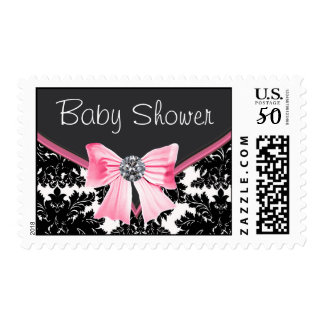Pink and Black Damask Baby Shower Postage