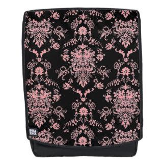 Pink and Black Damask Backpack