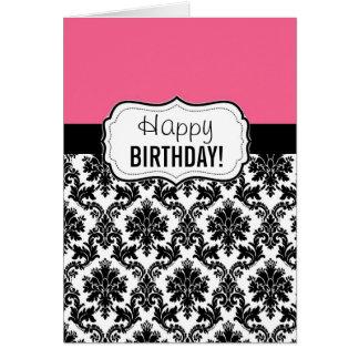 Pink and Black Damask, Birthday Card