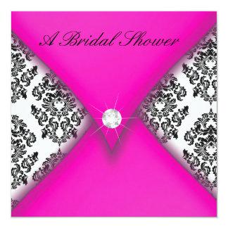 Pink and Black Damask Bridal Shower Card