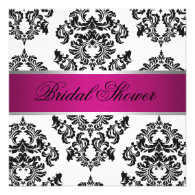 Pink and Black Damask Bridal Shower Custom Announcements