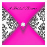 Pink and Black Damask Bridal Shower Custom Announcement