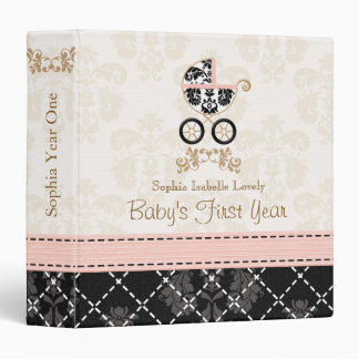 Pink and Black DAMASK Carriage Baby Photo Album Binder