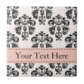 Pink and Black Damask Ceramic Tile Trivet