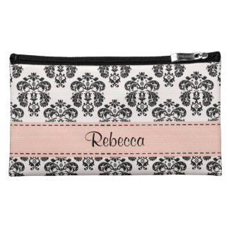 Pink and Black Damask Cosmetic Bag