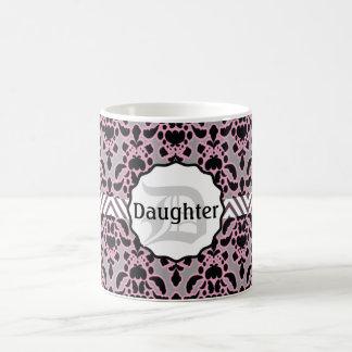 Pink and Black Damask DAUGHER Magic Mug