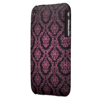 Pink and black Damask Design Blackberry Curve case