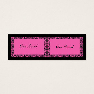 Pink and Black Damask Drink Tickets