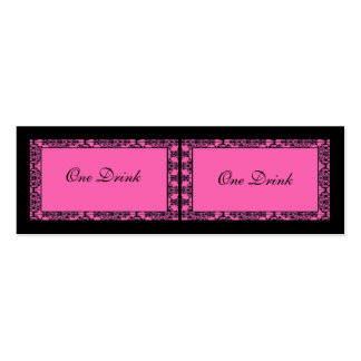 Pink and Black Damask Drink Tickets Double-Sided Mini Business Cards (Pack Of 20)
