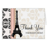 PINK AND BLACK DAMASK EIFFEL TOWER THANK YOU STATIONERY NOTE CARD